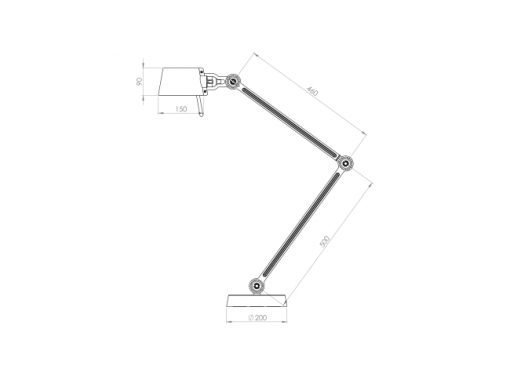 Tonone Bolt bureaulamp double arm sizes
