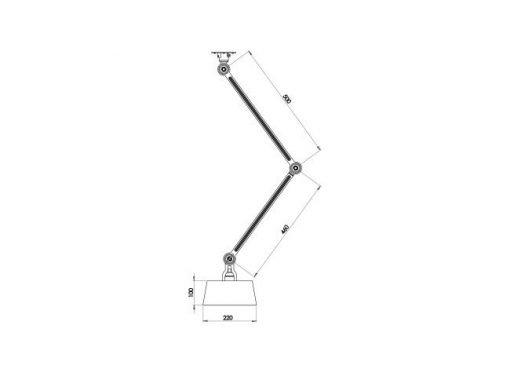 Tonone Bolt plafondlamp double arm underfit sizes