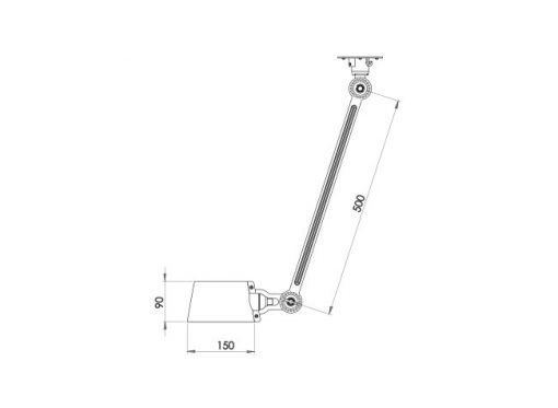 Tonone Bolt plafondlamp single arm sidefit sizes