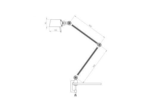 Tonone Bolt bureaulamp double arm met klem sizes