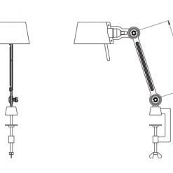 Tonone Bolt bureaulamp single arm small met klem sizes