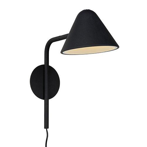 Lucide wandlamp Devon zwart - aan