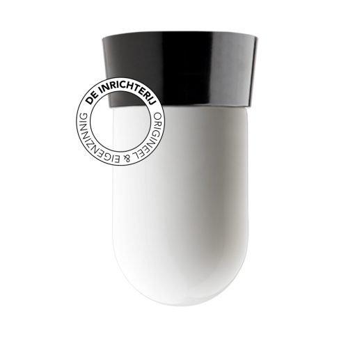 De Inrichterij plafonnière bakeliet Cilinder medium - opaal zwart
