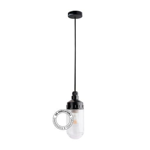 De Inrichterij hanglamp bakeliet Cilinder Ribbel - helder