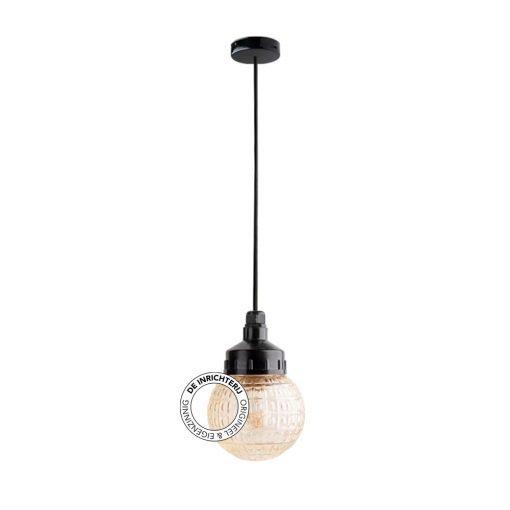 De Inrichterij hanglamp bakeliet Deco Bol - rookglas