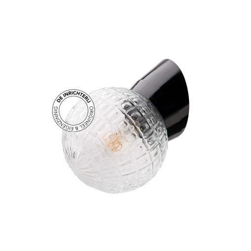 De Inrichterij wandlamp bakeliet Deco Bol - helder zwart
