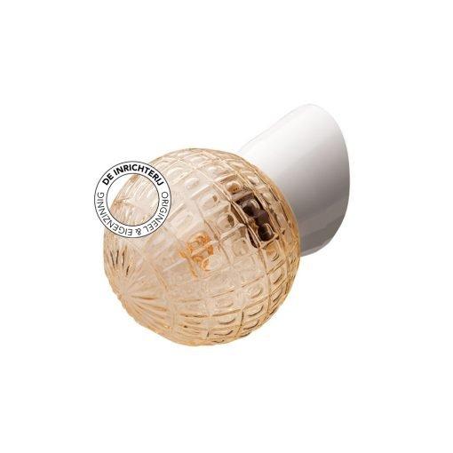 De Inrichterij wandlamp bakeliet Deco bol - rookglas wit