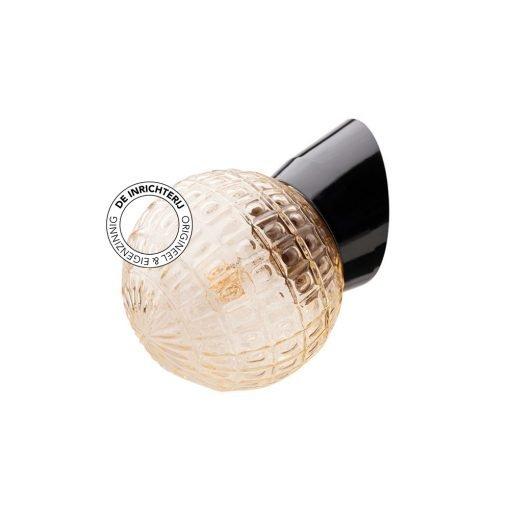 De Inrichterij wandlamp bakeliet Deco bol - rookglas zwart